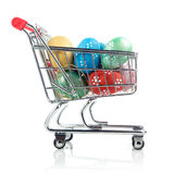 Shopping cart with easter eggs Royalty Free Stock Photography
