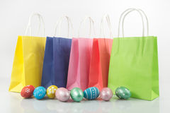 Shopping cart with easter eggs Stock Photography