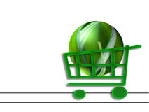 Shopping cart and  eco-sphere Stock Photography