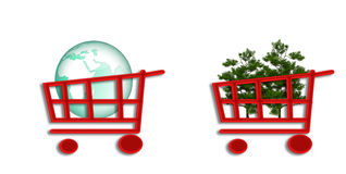 Shopping cart with eco-sphere and trees Royalty Free Stock Photo
