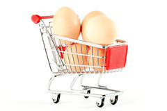 Shopping Cart with Eggs Stock Photo