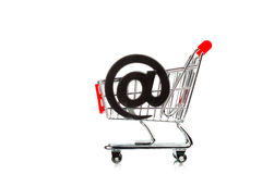 Shopping cart with email symbol Stock Photography