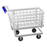 Shopping cart. Empty shopping cart  on white background. 3D render Stock Image