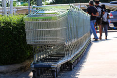 In shopping cart, enter the merchandise, cart wheels, facilities Royalty Free Stock Image