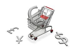 Shopping cart with euro Royalty Free Stock Photography