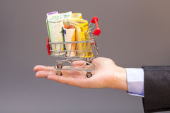 Shopping cart with euro banknotes on hand Royalty Free Stock Photography