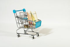 Shopping Cart with Euro Bills and Coins  Royalty Free Stock Image