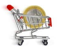 Shopping cart with euro coin Royalty Free Stock Photos