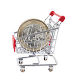 Shopping cart with euro coin. On white background Stock Photo