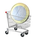 Shopping cart with euro coin  on white background Stock Images