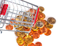 A shopping cart with euro coins. Symbolic photo for purchasing power and consumption Royalty Free Stock Image