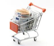 Shopping cart with Euro money Stock Image