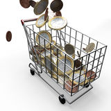 Shopping Cart euro money Royalty Free Stock Photo