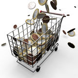 Shopping Cart euro money Stock Photos