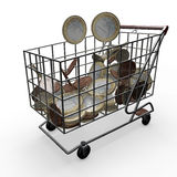 Shopping Cart euro money Royalty Free Stock Image