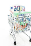 Shopping cart with Euros, isolated on white Stock Photos