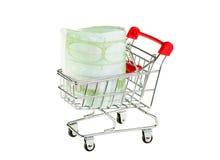 Shopping cart and euros isolated on white Stock Photos