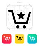 Shopping cart with favorites item icon. Shopping cart favorites item icon. Vector illustration vector illustration