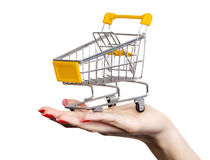 Shopping cart on a female hand Royalty Free Stock Photo