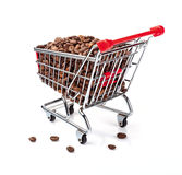 Shopping Cart Filled with Coffee Beans. Isolated On White Background Stock Photography