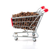 Shopping Cart Filled with Coffee Beans. Isolated On White Background Royalty Free Stock Photo
