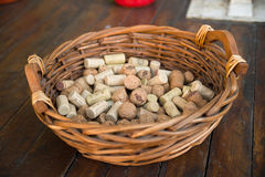 Shopping cart filled with corks from wine bottles Stock Photo