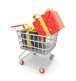 Shopping cart filled by gift Royalty Free Stock Images
