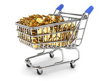 Shopping cart filled with gold coins Royalty Free Stock Image