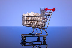 Shopping cart filled with medicine Royalty Free Stock Photos