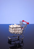 Shopping cart filled with medicine Stock Photos