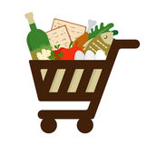 Shopping cart filled in with traditional food for passover holiday Stock Images