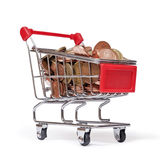 A shopping cart is filled with well-euro coins Stock Images