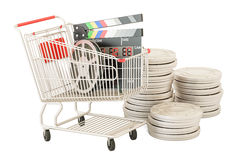 Shopping cart with film reels and digital clapperboard. 3D rende. Shopping cart with film reels and digital clapperboard, 3D rendering isolated on white Stock Photo