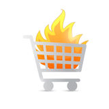 Shopping cart on fire illustration design stock illustration