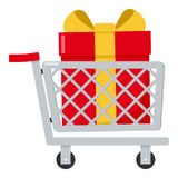 Shopping Cart with Red Gift Flat Icon Royalty Free Stock Photo