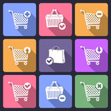 Shopping cart flat icons Royalty Free Stock Photography