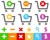 Shopping Cart Flat Icons Set. Collection of six colorful shopping cart flat icons, isolated on white background. Eps file available Royalty Free Stock Photos