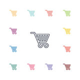 Shopping cart flat icons set Stock Photography