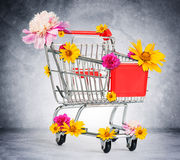 Shopping cart with flowers Royalty Free Stock Images