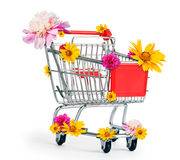 Shopping cart with flowers Stock Photo