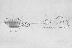Shopping cart flying like a rocket, launch a new sale Stock Images