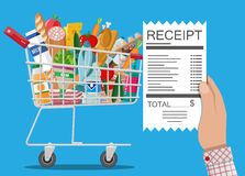 Shopping cart with food and drinks, receipt Royalty Free Stock Photo