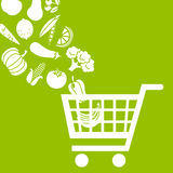 Shopping cart with food. White icons on green background Royalty Free Stock Photography
