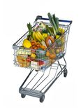 Shopping cart with foods Royalty Free Stock Photo