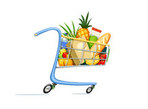 Shopping cart with foodstuff. Supermarket equipment for buying products. Shop trolley. Isolated white background. Vector illustration Royalty Free Stock Photography