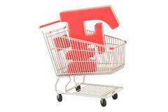Shopping cart with franc symbol, 3D rendering Stock Photos