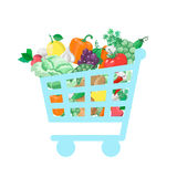 Shopping cart with  fresh and natural food Stock Photo
