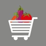 Shopping cart fresh vegetales food Royalty Free Stock Photography