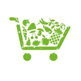 Shopping cart fruit Stock Images