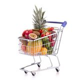 Shopping cart with fruits Stock Photos